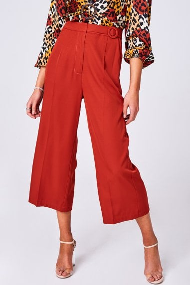 Modus Rust Buckle Detail Wide-Leg Trousers