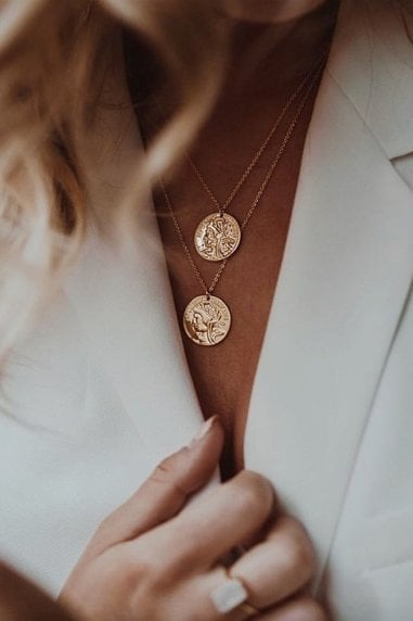Gold Lunar Gold Plated Double Coin Layered Necklaces
