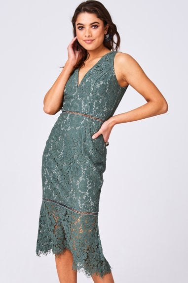 Cupid Fern Green Lace Pephem Midi Dress