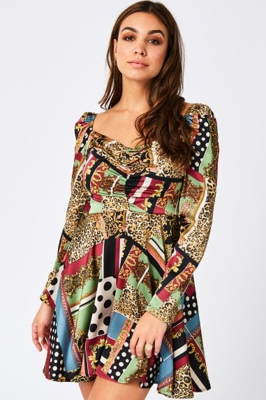 Karma Scarf-Print Satin Mini Skater Dress