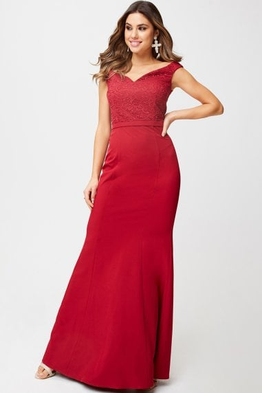 Aisha Scarlet Lace Off-The-Shoulder Maxi Dress