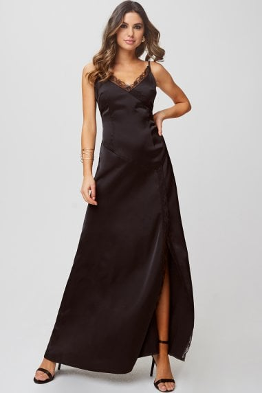 Hanna Black Satin Lace-Trim Maxi Dress