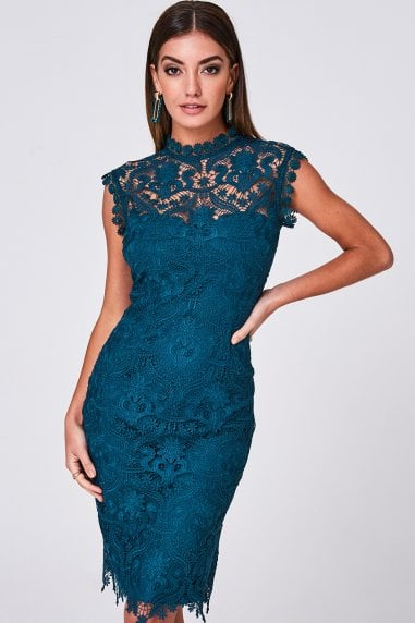 Marilla Teal Crochet-Lace Bodycon Dress