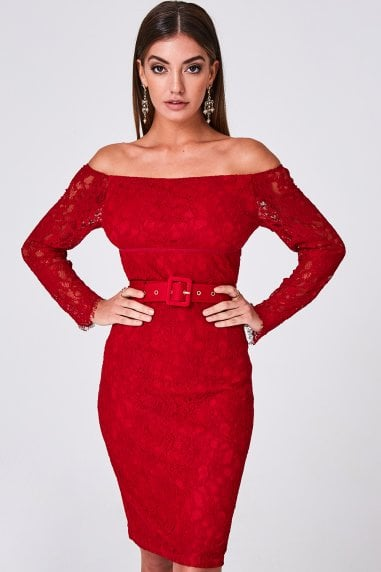 Anise Ruby Lace Belted Bardot Bodycon Dress
