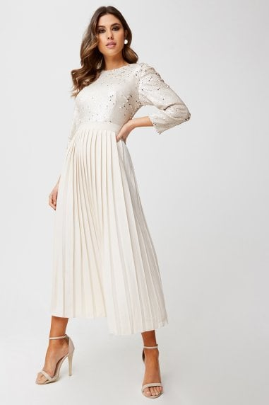 Leila Cream And Gold Sequin Pleated Midaxi Dress