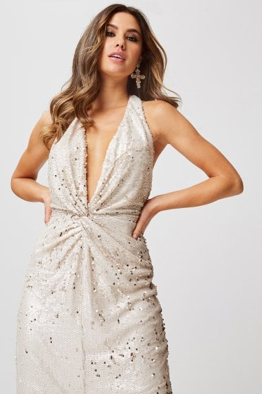 Leila Cream And Gold Sequin Plunge Halterneck Maxi Dress
