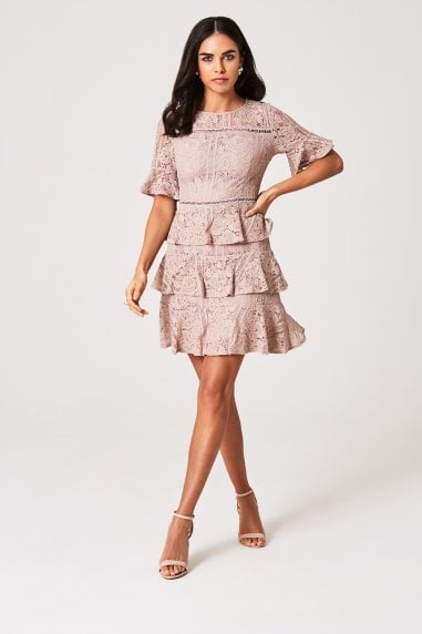Tabitha Mink Tiered-Lace Shift Dress