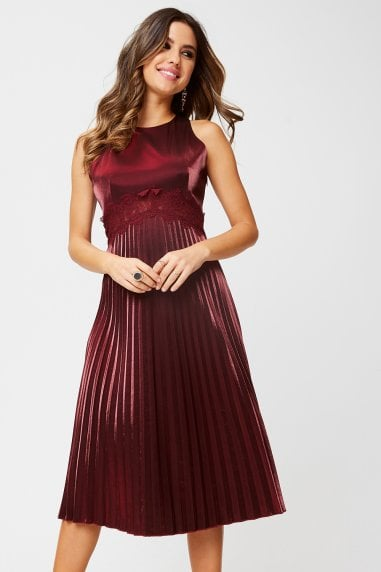 Beatrix Metallic Red Lace-Trim Midi Dress