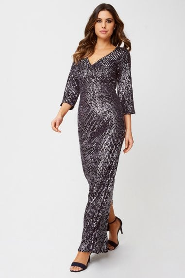 Katy Black Velvet Sequin Maxi Dress