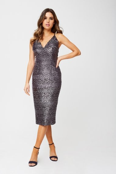 Katy Black Velvet Sequin Bodycon Midi Dress