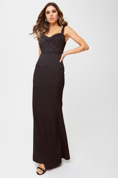 Hadley Black Lace-Trim Maxi Dress