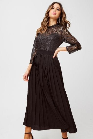 Amelia Black Foiled Lace Midaxi Dress