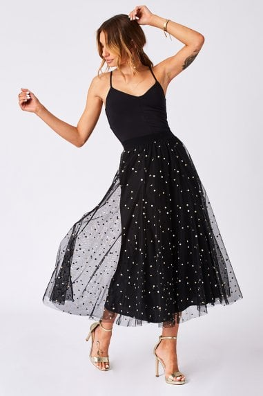 Lisa Black Embroidered Polka-Dot Midi Skirt
