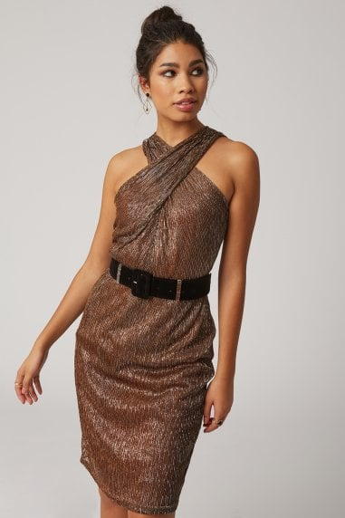 Lumen Copper Lurex Crossover Neck Belted Dress