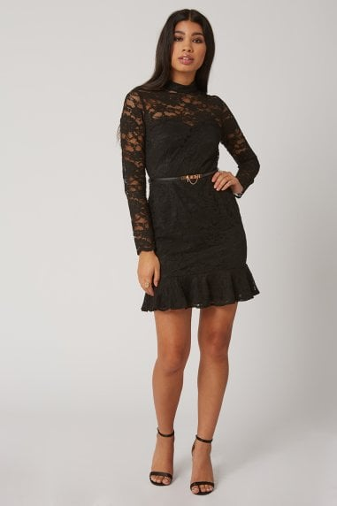 Carman Black Lace Belted Peplum Mini Dress