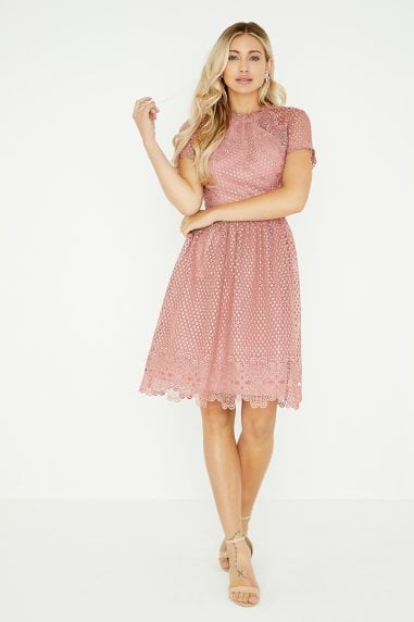 Gaby Apricot Lace Skater Dress