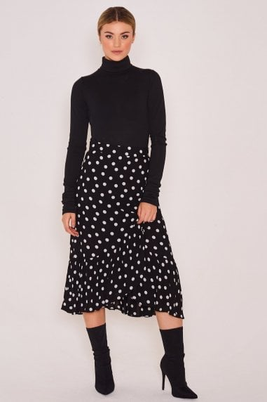 Monochrome Polka Dot Wrap Skirt