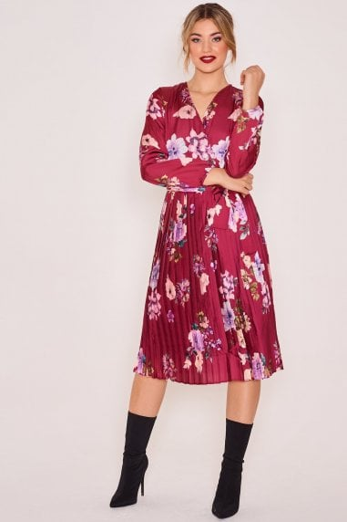 pleated-satin-long-sleeve-dress