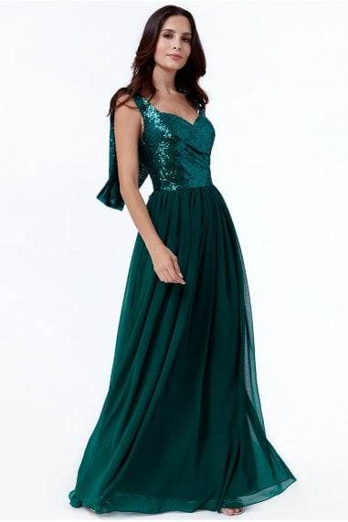 Cowl Back Sequin & Chiffon Maxi Dress