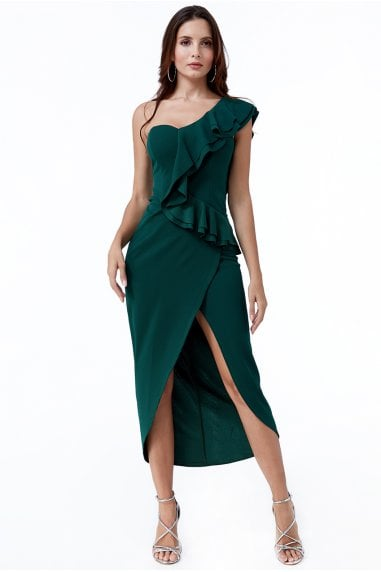 One Shoulder Frill Maxi Dress
