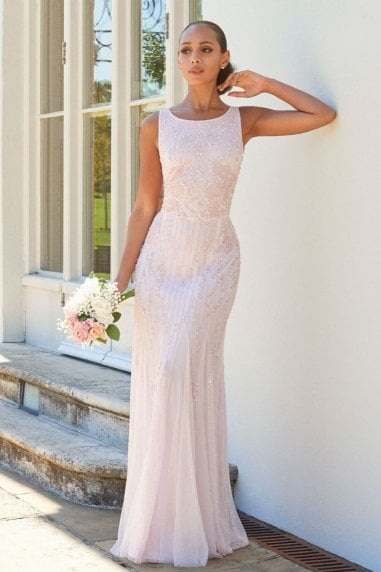SISTAGLAM GRACEY PINK HIGH NECK MAXI DRESS