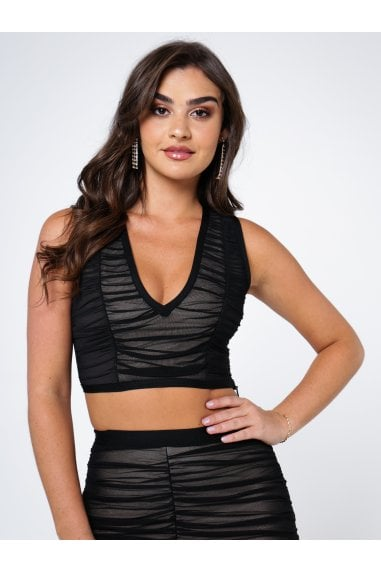Ruched mesh bandage top