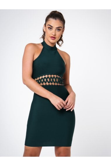 BANDAGE BODYCON DRESS WITH LATTICE DETAIL