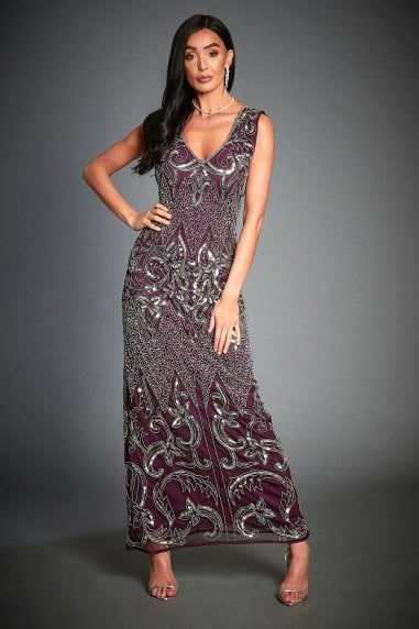 Silver Embellished Evening Dress