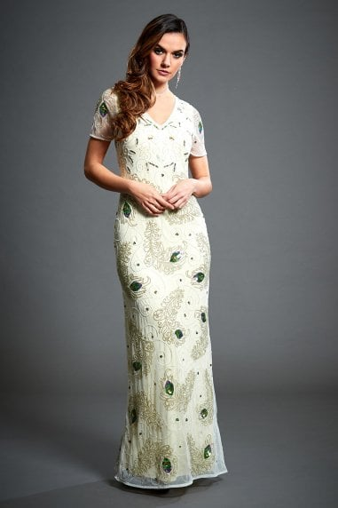 Peacock Feather Beaded Maxi Dress