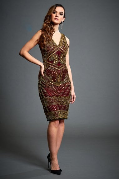 Gold Sequin Embellished Flapper Dress