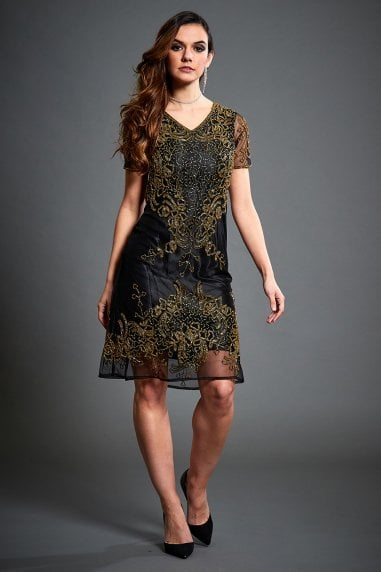 Embellished Flapper Dress In Gold