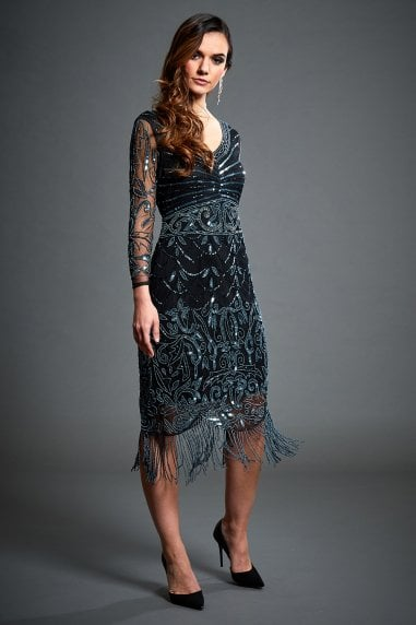 Black Midi Embellished Long Sleeve Flapper Dress