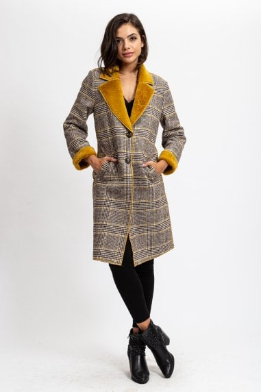 Faux Mustard Fur Checks Coat