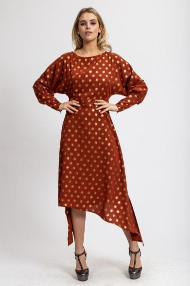 Asymmetric Dress Gold Polka Dot Dress with Balloon Sleeves