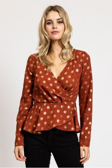 Gold Polka Dot Wrap Top