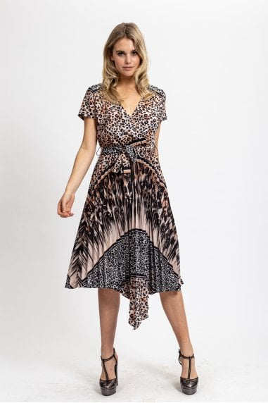 Pleated Animal Layered Printed Dress with Short Sleeves