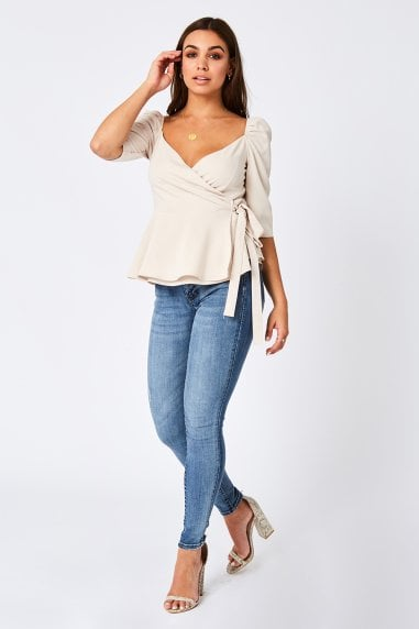 Trove Cream Puff Sleeve Wrap Top