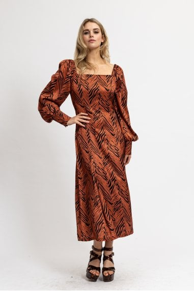 Zebra Tuscany Midaxi Dress with Balloon Sleeves