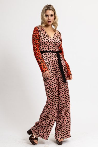 Two tones Animal Printed Belted Jumpsuit with Wrap Front and Wide Leg