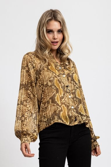 Gold Snake Skin Shirt with Balloon sleeves