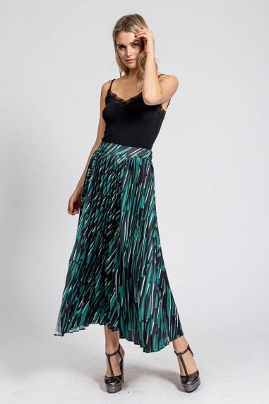 Pleated Midaxi Skirt in Green Abstract Animal Print