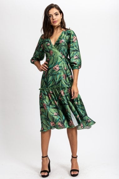 Wrap Dress with Frill in Polka Dot Green Base Pink Floral Print