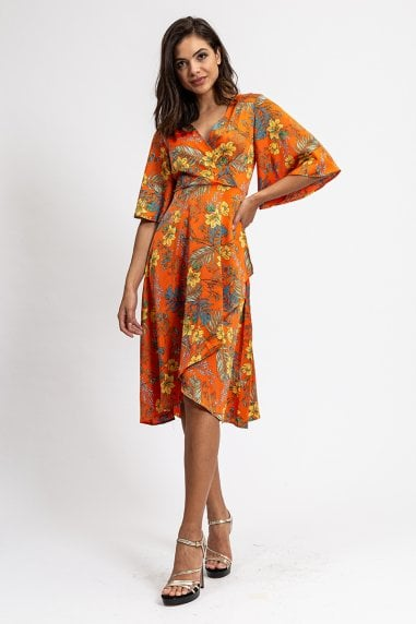 Orange Wrap Dress in Floral Print with Kimono Sleeves
