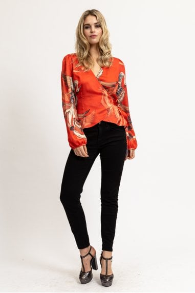 Wrap Top in Red Bird Print with Ballony Sleeves