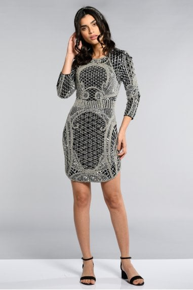 New York Long Sleeved Flapper Dress in Black Silver