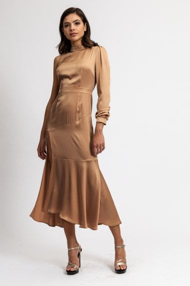 Camel One Sleeve High Neck Dress with Deep Slit on The Side