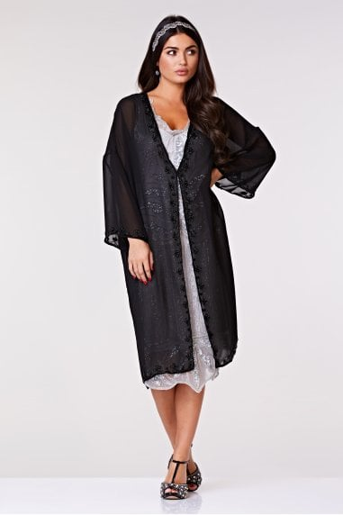 Tara Soft Mesh Long Jacket in Black