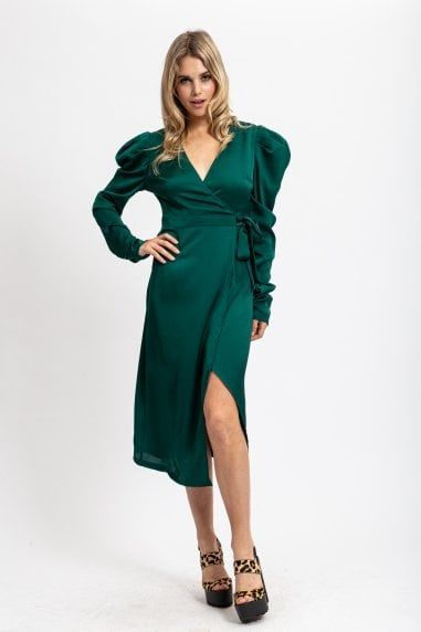 Forest Green Wrap Asymmetric Dress with Rushed Maxi Sleeves
