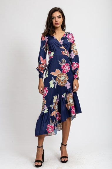 Asymmetric Midaxi Dress in Navy Floral Print with Fucshia Matching Piping