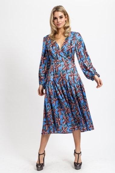 Wrap Dress with Balloon Sleeves in Abstract Floral Blue Print